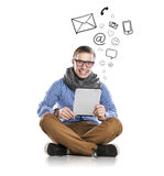 Young man with tablet Royalty Free Stock Images