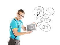 Young man with tablet Royalty Free Stock Image