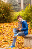 Young man with tablet in outdoor Stock Photo
