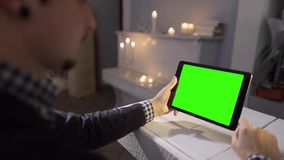 Young Man with Tablet Work in Cafe stock footage