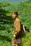 Young man in taiga 5 Stock Photos