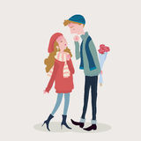 Young man take flowers to his lover. A Vector Illustration of a man giving flowers to his lover on a winter day Royalty Free Stock Images