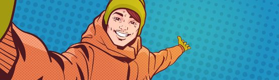 Young Man Take Selfie Photo Pointing hand To Copy Space Over Colorful Retro Style Background Happy Smiling Guy Wear. Winter Clothes Vector Illustration vector illustration