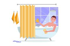 Young man taking bathtub with bubble foam. Bathroom home interior with bath in tile with shower curtain. Guy holding washcloth on royalty free illustration