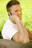 Young man talk on mobile phone Royalty Free Stock Photo