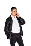 Young man talking business on cell phone Royalty Free Stock Photos