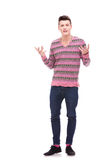 Young man talking and explaining Stock Photo