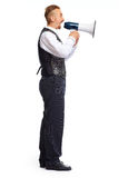 Young man talking in megaphone. Young man talking in megaphone isolated on white background Royalty Free Stock Photography