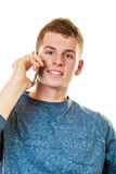 Young man talking on mobile cell phone Stock Image