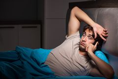 The young man talking on mobile late at night. Young man talking on mobile late at night royalty free stock photo