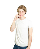 Young man talking in phone Stock Photo