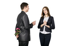 Young man talks to his girlfriend Royalty Free Stock Photos