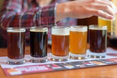 Young Man Tasting Beer Samples From A Beer Flight Royalty Free Stock Images