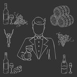 Young man tasting a glass of wine vector Stock Image