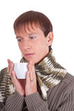 Young man with tea cup Stock Photo