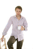 Young  man with tea cup Royalty Free Stock Photography