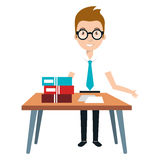 Young man teacher character with table stock illustration