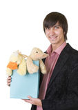 Young man with teddy duck. For valentines day royalty free stock photos