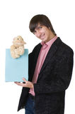 Young man with teddy duck. For valentines day royalty free stock photo