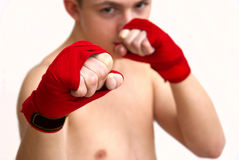 Young man teen boxing Stock Photos