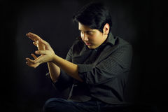Young man teenager portrait hands focusing Stock Photo