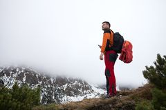 Man on top of the moutains Stock Photography