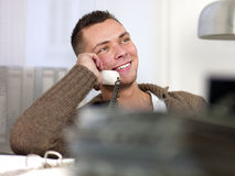 Young Man with Telephone Stock Photo