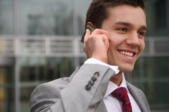 Young man with telephone Stock Photos