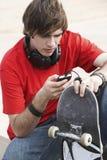 Young Man Texting Message Stock Photos