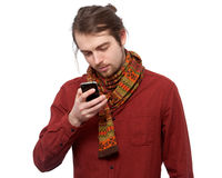 Young man texting sms Stock Images