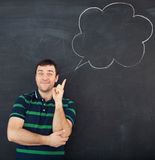 Young man thinking. Chalk drawing Stock Image
