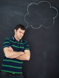 Young man thinking. Chalk drawing Royalty Free Stock Image