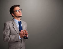 Young man thinking with empty copy space Stock Photos