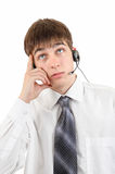 Young Man Thinking in Headset Stock Images