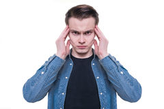 Young man thinking and making mind control Stock Photography