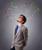 Young man thinking with marks overhead Royalty Free Stock Image