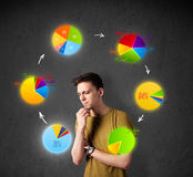 Young man thinking with pie charts circulation around his head Royalty Free Stock Photo