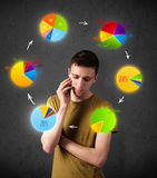 Young man thinking with pie charts circulation around his head Royalty Free Stock Images