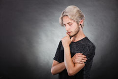 Young man thinking seek a solution Royalty Free Stock Image