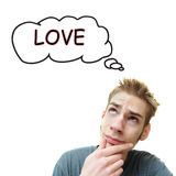 Young Man Thinks Love Royalty Free Stock Photos