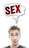 Young man thinks about sex. Young white Caucasian male adult thinks about hot sex in his think bubble isolated on white background Royalty Free Stock Photos
