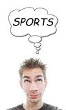 Young man thinks Sports Royalty Free Stock Photo