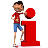 Young man with with thumb up and red information icon Royalty Free Stock Photo