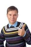 Young man with thumbs up. Handsome young man with thumbs up on an isolated white background Royalty Free Stock Images