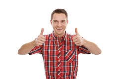 Young man with thumbs up Stock Photography