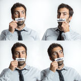 Young man with tie and fake moustaches Stock Photo