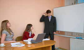 Young man to speak at a meeting Stock Photos