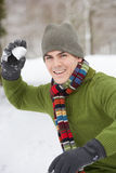Young Man About To Throw Snowball Stock Image