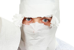 Young Man in Toilet Paper Stock Photo