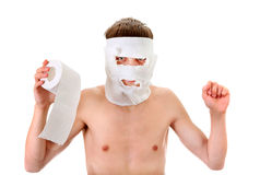 Young Man with Toilet Paper Royalty Free Stock Image